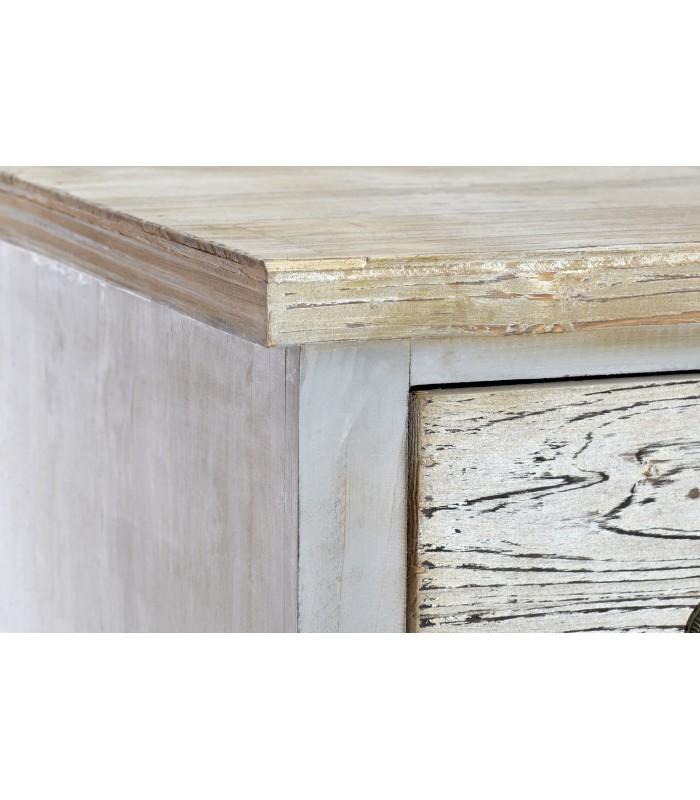 Mesita de noche de madera natural